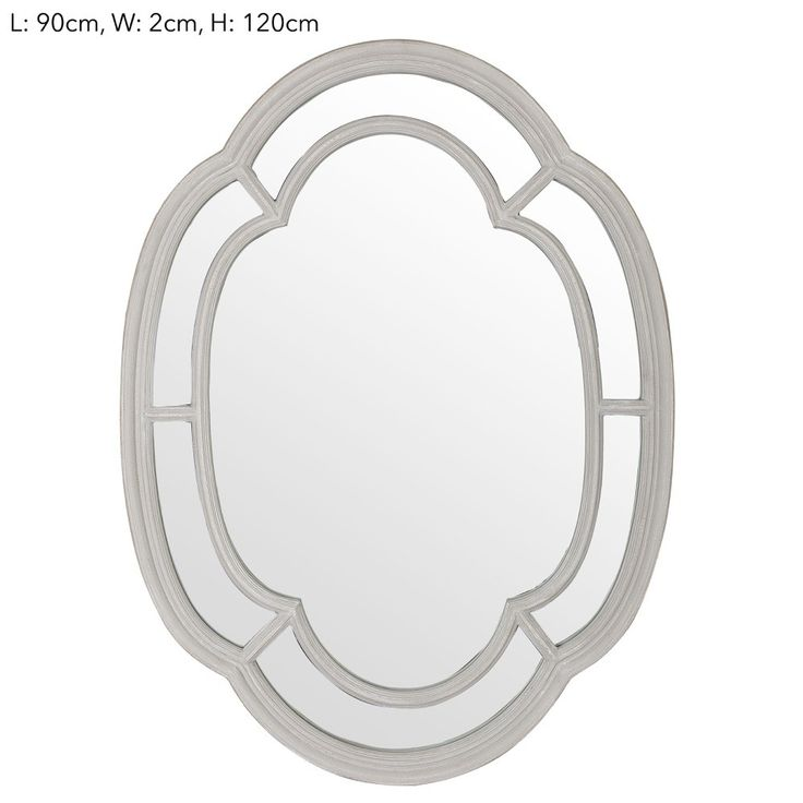 Blue-Grey Clover Wall Mirror. This mirror with its interesting clover like shape and blue-grey coloured frame would stand out as atalking pointon a dark feature wall.  Dimensions: 90cm x 120cm x 2cm