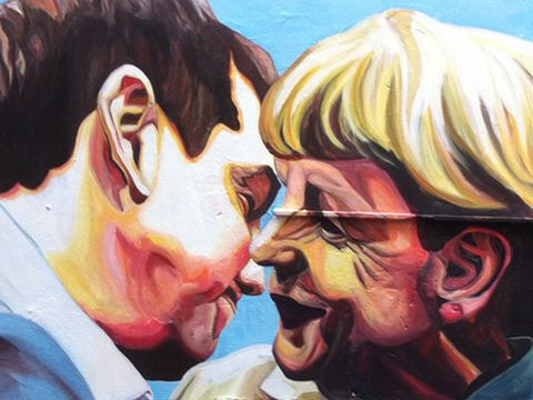 Athens Street Art Mural in Athens Depicting Merkel and Tsipras