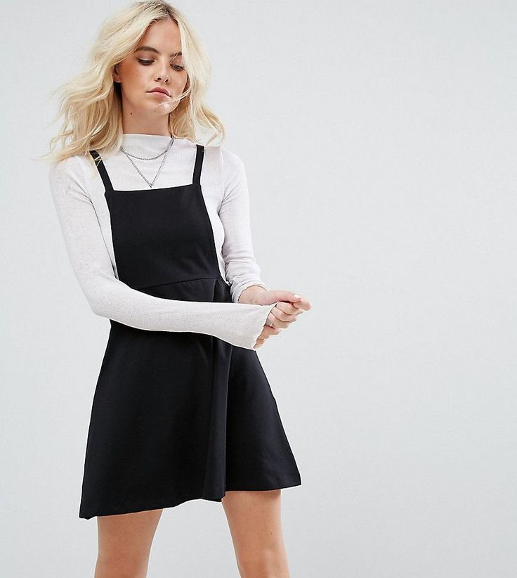 ASOS PETITE Mini Pinafore Dress with strappy back - Black