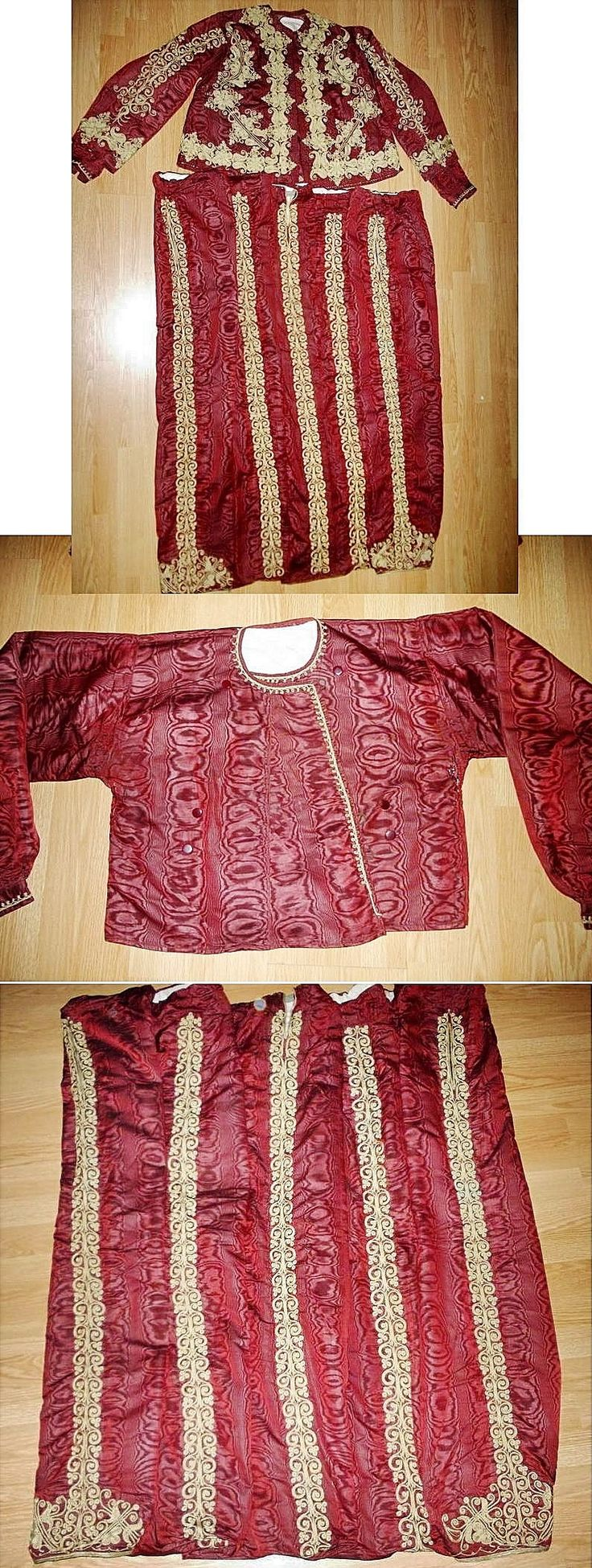 Woman's festive ensemble, from Konya.  Late-Ottoman, ca. 1900.  Consisting of a long-sleeved vest, a shirt (middle picture) and baggy trousers (bottom picture).  Moiré silk, adorned with embroideries (golden metal thread in 'tutturma' technique / applied cord).  (Source: Antika Osmanlı Tekstil, Istanbul).