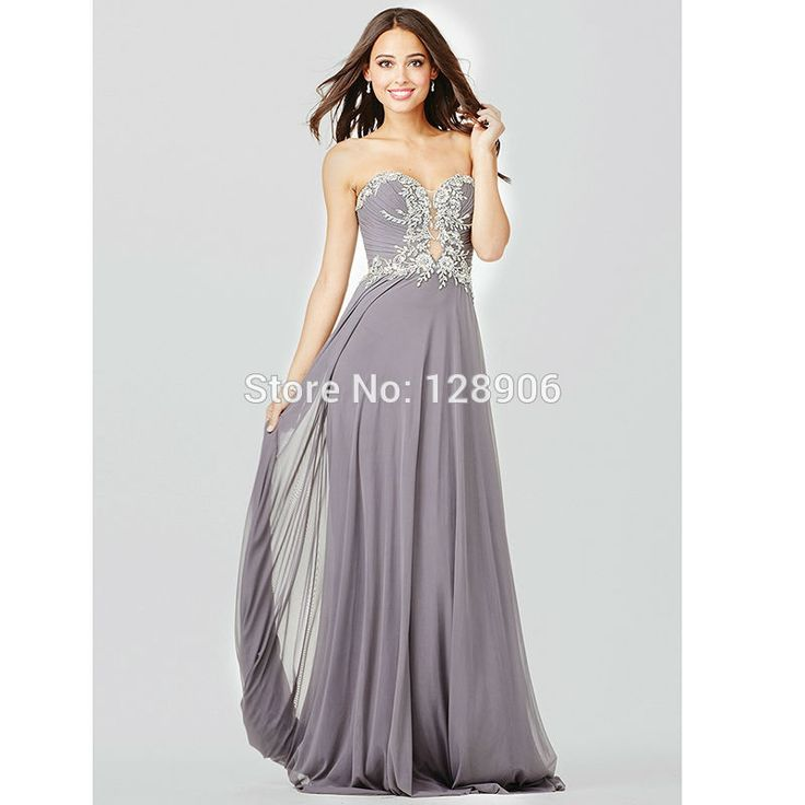 2016 Gray Prom Dresses With Appliques New Arrival Sweetheart Long Prom Dress Formal Party Dress Vestidos De Fiesta