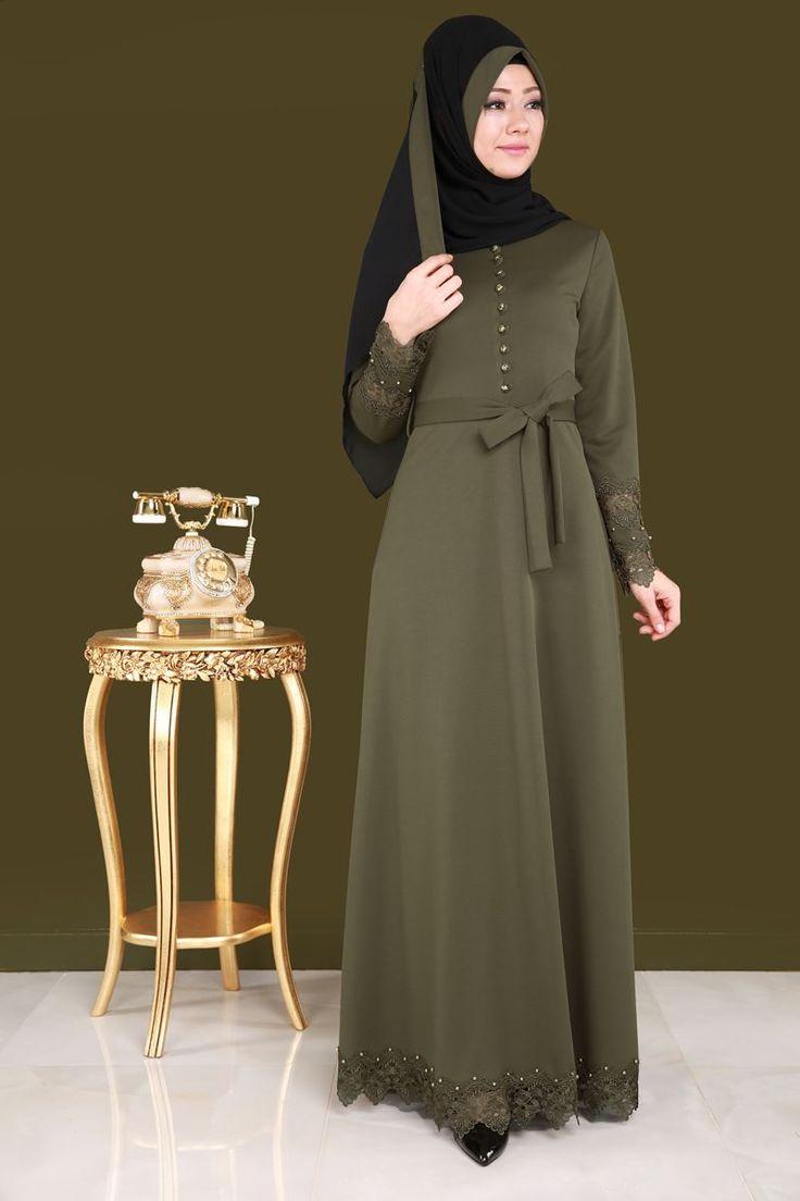 ** YENİ ÜRÜN ** Güpürü İncili Şallı Elbise Haki Ürün Kodu: BNM00281 --> 119.90 TL