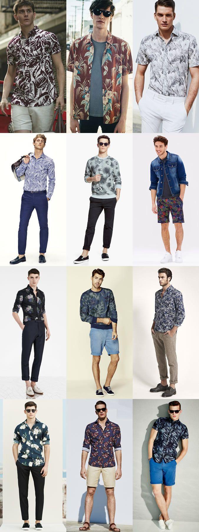Men's Summer Style: Dark and Masculine Floral Prints Outfit Inspiration Lookbook