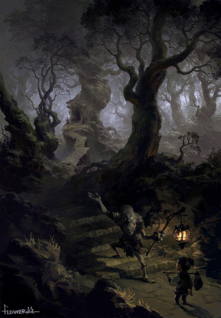 Goblin woods, Tianhua Xu on ArtStation at https://www.artstation.com/artwork/8NOm