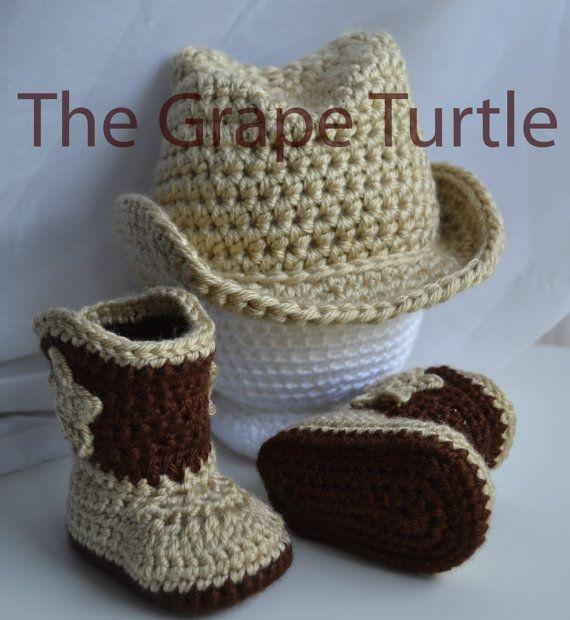 Crochet Cowboy Set, MADE TO ORDER, Crochet Cowboy Hat, Crochet Cowboy Boots, Crochet Baby Boots, Crochet Photo Prop