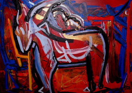 Paintings - A DONKEY NAMED FROG 3 - AN ORIGINAL ABSTRACT PAINTING BY CELESTE FOURIE-WIID for sale in Hermanus (ID:284622276)