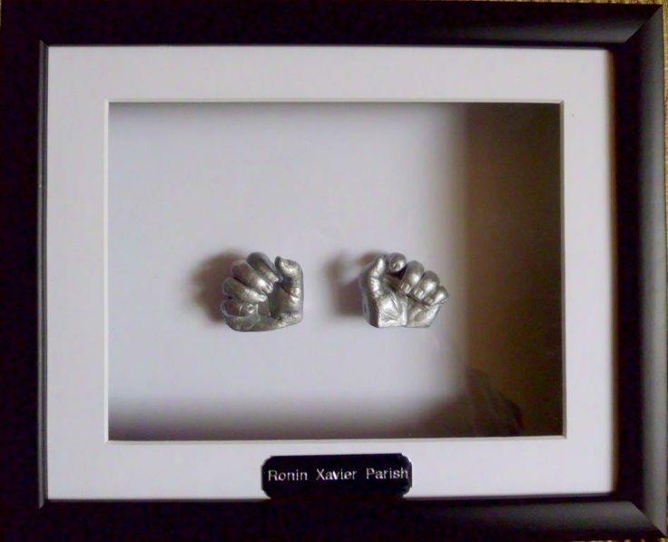 tiny baby's plaster casting hands in silver by www.keepsake4u.com.au