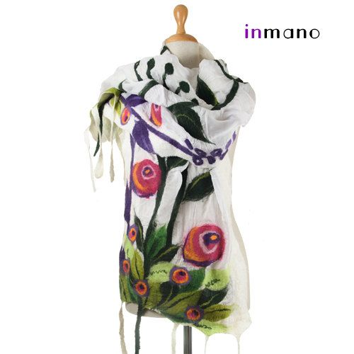 white nuno felted scarf spring meadow  silk felt wool by inmano