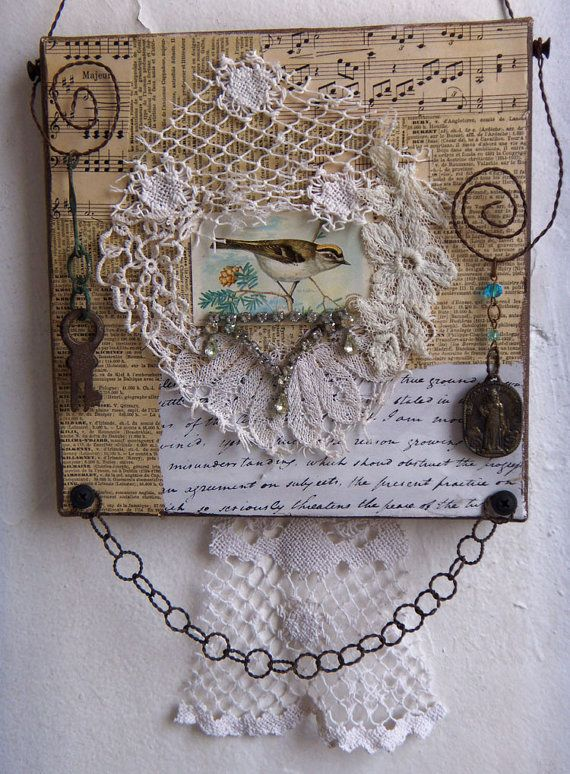 Assemblage Art -LACE COLLAGE Altered Fabric Wall hanging -1113 on Etsy, $45.00