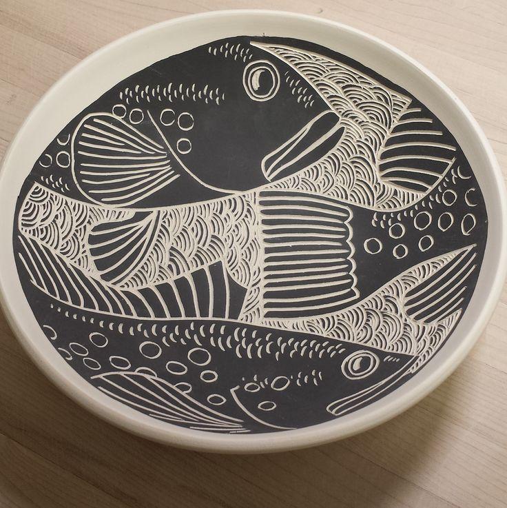 Laurie Landry Sgraffito fish bowl 2015  www.laurielandrypottery.com
