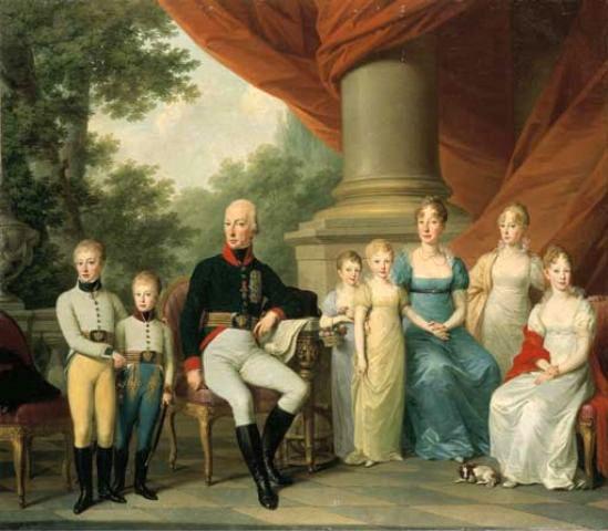 La famille impériale peinte par Josef Kreutzinger en 1808. Marie-Louise est la jeune fille assise à droite.