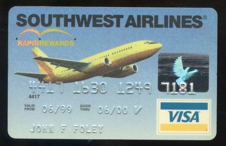 SOUTHWEST AIRLINES Rapid Rewards hard plastic VISA Credit Card expired June 2000 | eBay