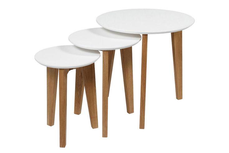 Hvitlakkert bordplate, ben i massiv eik , ubehandlet