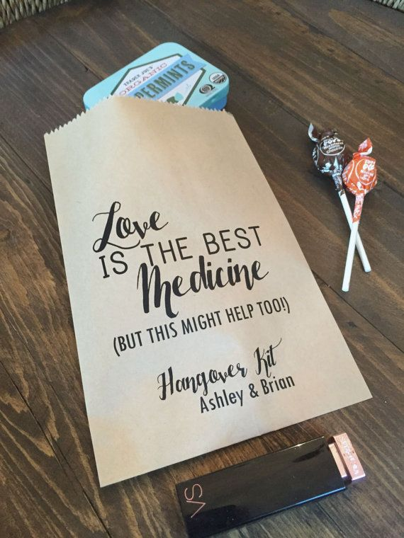 Love is the best medicine paper favor bag. Wedding Hangover Kit Bags Love is the Best by SALTEDPrintingCo