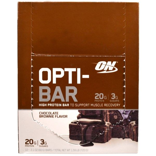 Optimum Nutrition, Opti-Bar High Protein Bar, Chocolate Brownie Flavor, 12 Bars, 2.1 oz (60 g) Each