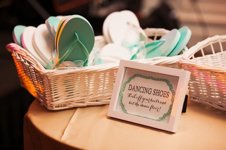 Classic Clearwater Beach Wedding at Sandpearl Resort, FL  Flip flops for guests to change into!   Photographer:  Limelight Photography