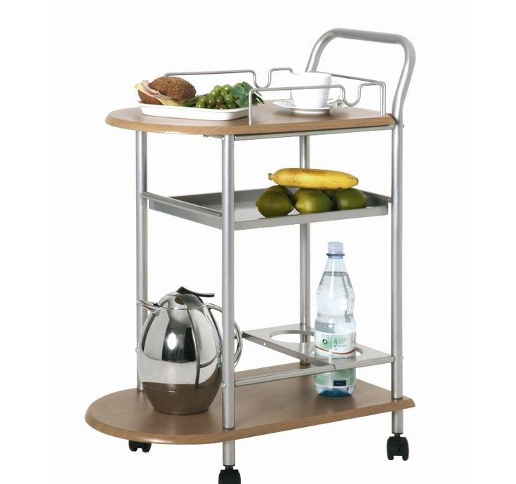 Serving Trolley Breakfast Bar Steel Frame Holder Bottle MDFLaminated Table Plate
