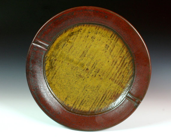 Red and Gold Rustic Dinner Plate by ryanstrobel on Etsy, $50.00