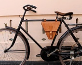 Handmade natural traditional veg tanned leather bicycle rear pannier/rear rack/ messenger bag. $70.00, via Etsy.