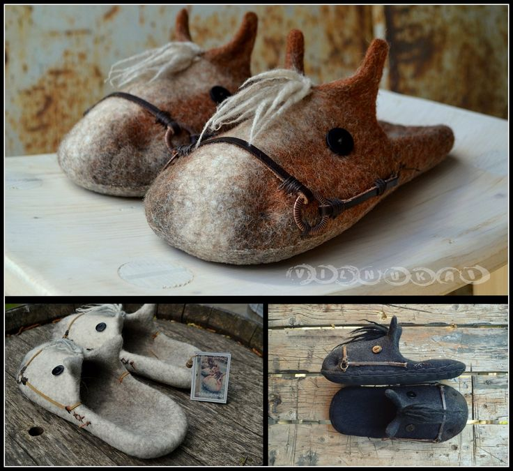 For horse lovers , horse quotes ,for horse riders gift , cowboy boots horse slippers , vilnukai , felted slippers ...