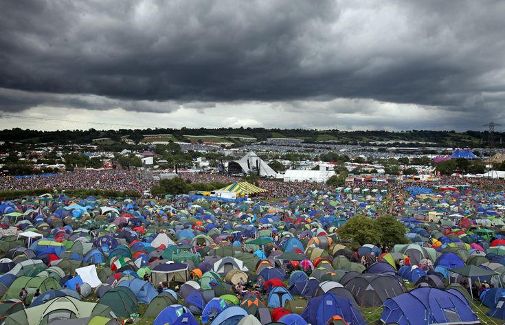 Glastonebury Festival  held at Worthy Farm in England, Europe's largest gathering for music fans.   (England, Europe)