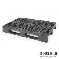 Export pallet 1200x800x160 mm, op 3 sleden, van recycle plastic, zwart
