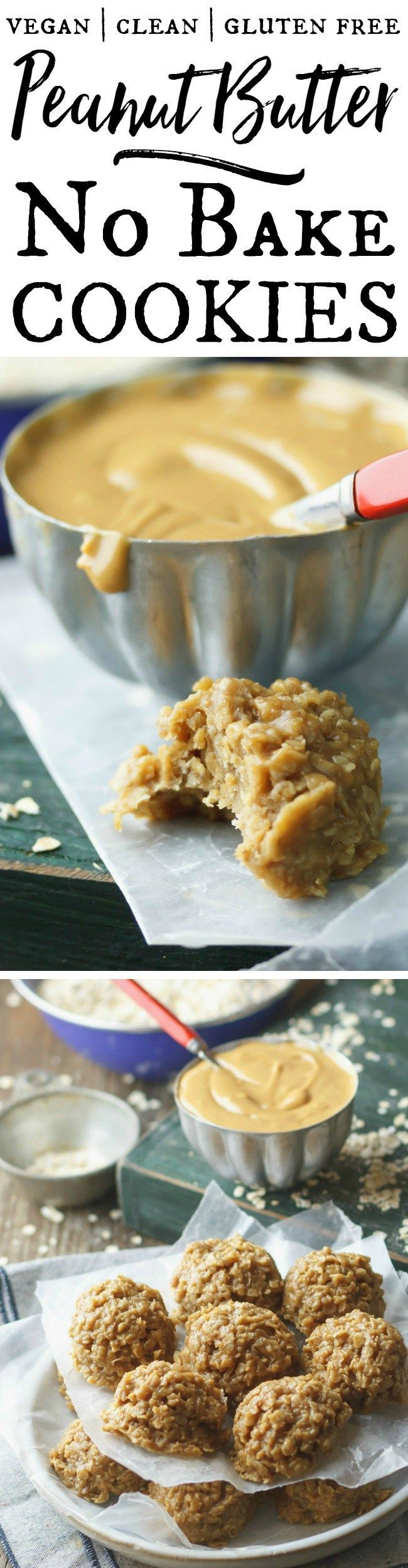 Fudgy Peanut Butter No-Bake Cookies - the no-bake taste you love, but better. These are made with whole, vegan ingredients and they're thick, rich, fudgy and AMAZING!