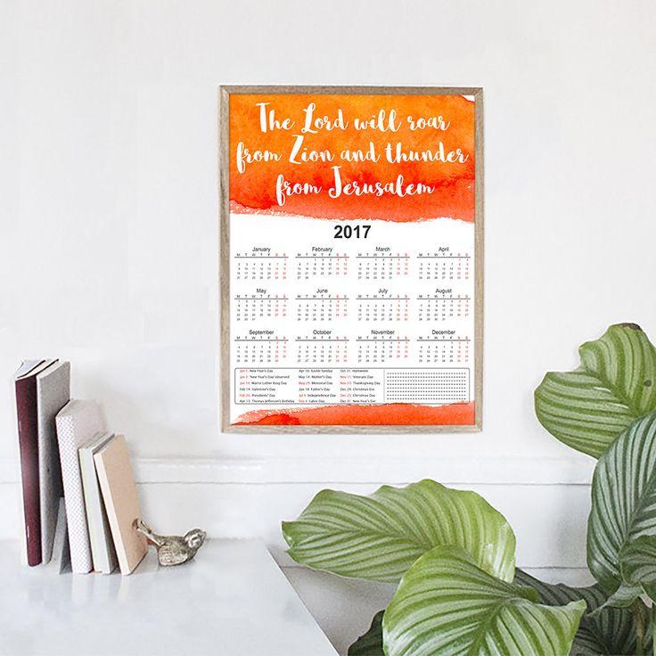 A4 Printable Calendar | 2017 Yearly Printable Calendar, 2017 Planner PDF, Wall Art Calendar, Faith, Christian Gift, Organize, Home Decor by HolyLandCalendars on Etsy