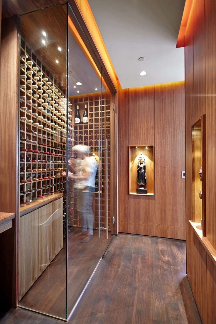Penthouse: Classy Fichman Penthouse Interior Design In Toronto Designed By RegionalArchitects, Stunning Wine Cellar in Fichman Penthouse In Toronto Designed By RegionalArchitects with Glass Door and Wooden Shelving