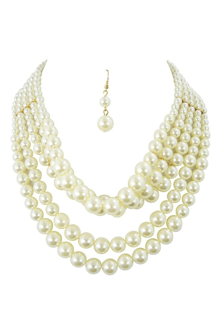 best pretty pearl necklaces and earrings images on pinterest