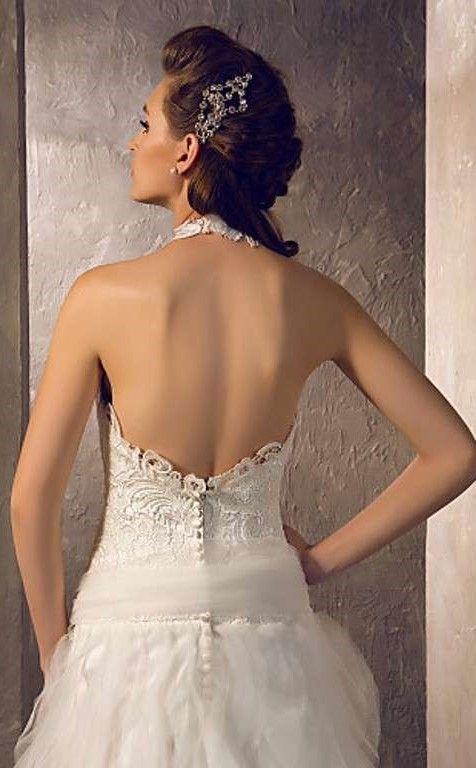 abito da sposa  economico on line - elizabet -strascico corto - tessuti tulle e pizzo
