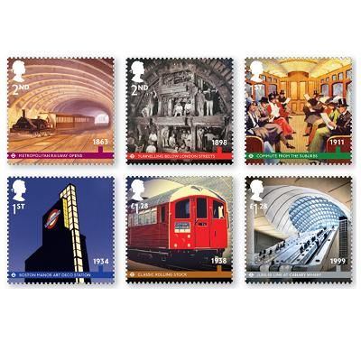 Stamp Set published today by Royal Mail to commemorate the 150th Anniversary of London's Underground Railway - 'The Tube'