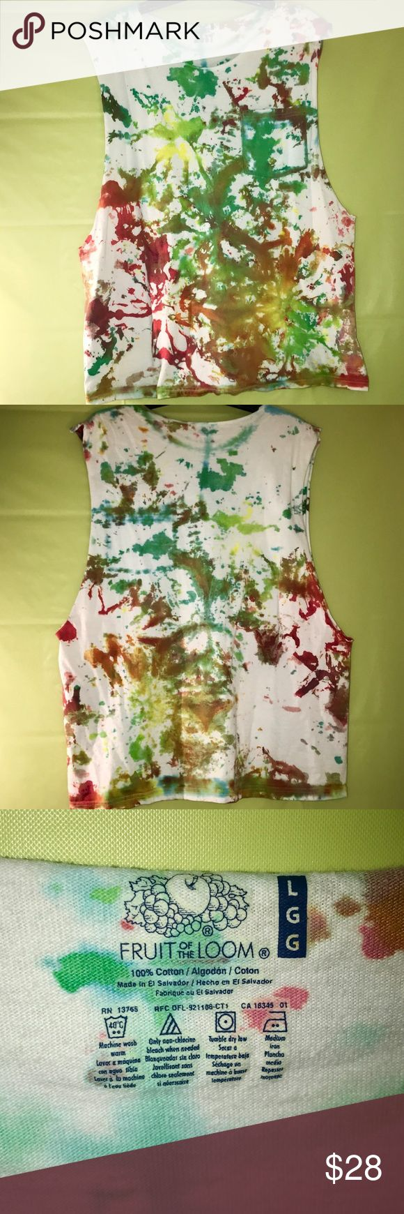 Tie-Dye tank top Could be for guy or girl, pairs great with a sports bra or khakis, and unique tie-dye technique used. Fruit of the Loom Shirts Tank Tops