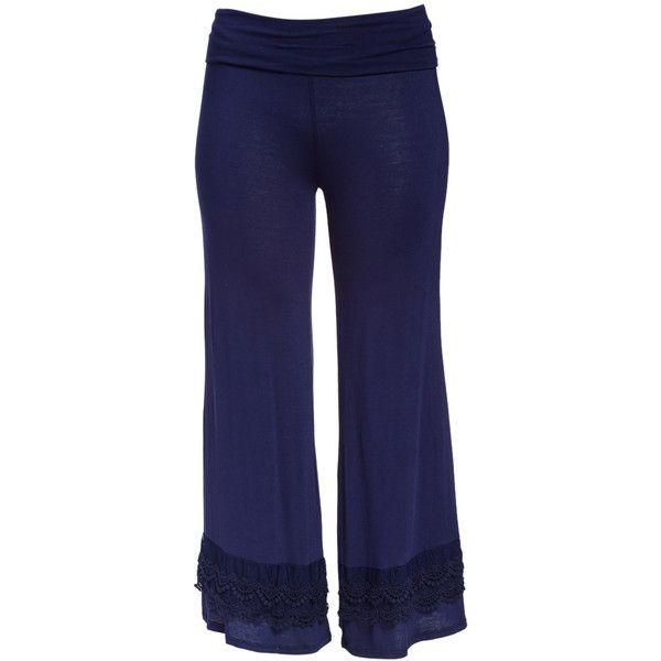 Celeste Navy Lace-Trim Palazzo Pants ($20) ❤ liked on Polyvore featuring plus size women's fashion, plus size clothing, plus size pants, plus size, rayon pants, palazzo trousers, blue trousers, loose pants and womens plus pants