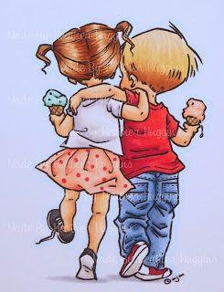 Heather's Hobbie Haven: Color Wednesday... Mo Manning digi - Outline: BG0000 Ground: C2, C1 Skin: E11, E21, E00 Boys Cheeks: R20, E93 Girls Hair: E37, E35, E33, E30 Boys Hair: E33, Y21, E30 Girls Shirt: V20, W1, W00 Girls Skirt: R32, R30, R00  Dots: R35 Girls Shoes: N7, N5    Soles: W1, W00 Boys Shirt: R39, R37, R35, R32 Boys Pants: B97, B95, B93, B91 Boys Shoes: R39    Soles: W1, W00 Ice Cream Cones: E33, E31 Girls Ice Cream: G02, G00 Boys Ice Cream: R02, R00
