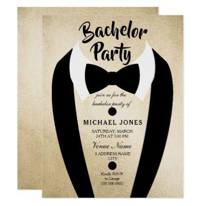 Gold Tuxedo Bow Tie Bachelor Party Invite - invitations custom unique diy personalize occasions