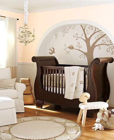 Wall decoration (image from Pottery Barn Kids). The theme for this nursery is a lamb motif. Love the crib!