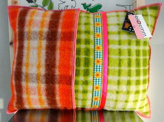 Pillowcase made from vintage blankets and ribbons