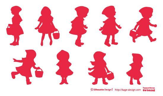 商用フリーで使える影絵素材サイト シルエットデザイン - 赤ずきんちゃんのシルエット