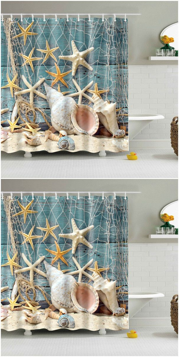 $16.80 Waterproof Starfish and Shell Printed Bath Shower Curtain