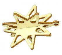 Drevený výrez hviezda 3D, priem. 6 cm