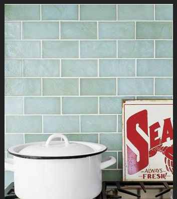 Sea glass subway tile backsplash