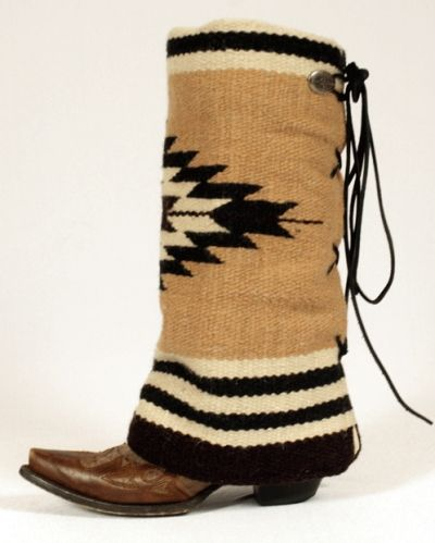DIY Boot Cover inspiration. You could try this with old thrifted cowboy boots and a blanket. I love the look of these.