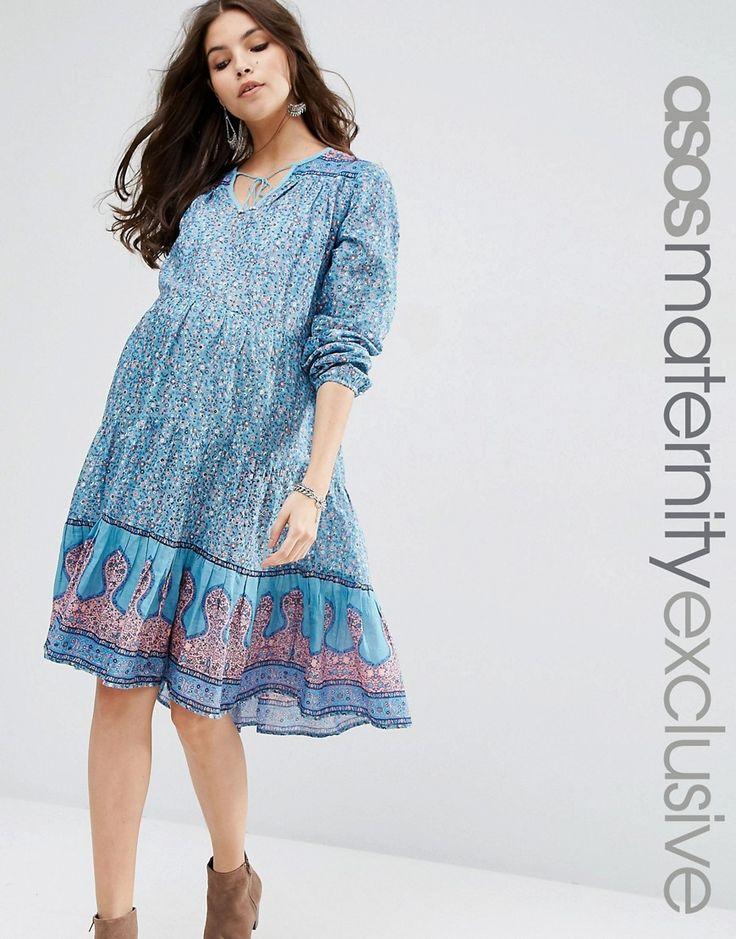 Image 1 ofASOS Maternity Cotton Printed Beach Dress