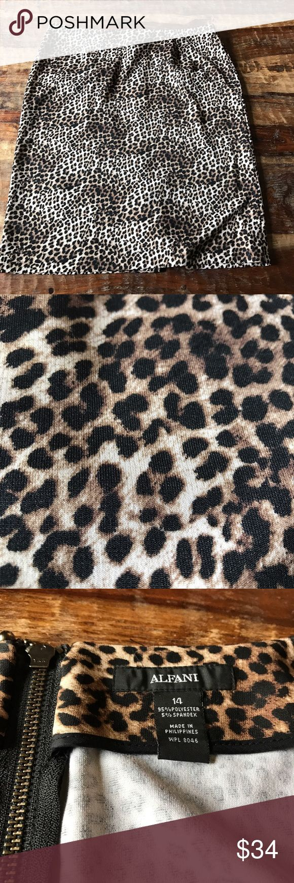 "Alfani Leopard Pencil Skirt Super cute back zip pencil skirt in excellent condition. Waist is 18"" across laying flat and length is 23"" Alfani Skirts Pencil"