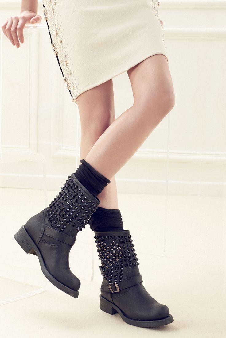 TWIN-SET Simona Barbieri: Biker with studded leg and strap #TwinSet #shoes #beautiful #lifestyle