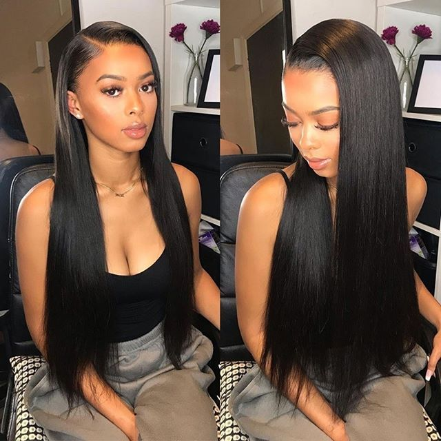 Brazilian Straight Hair Bundles With Lace Closure Virgin Hair Bundles With Closure Straight Hairstyles Hair Styles Black Hairstyles With Weave