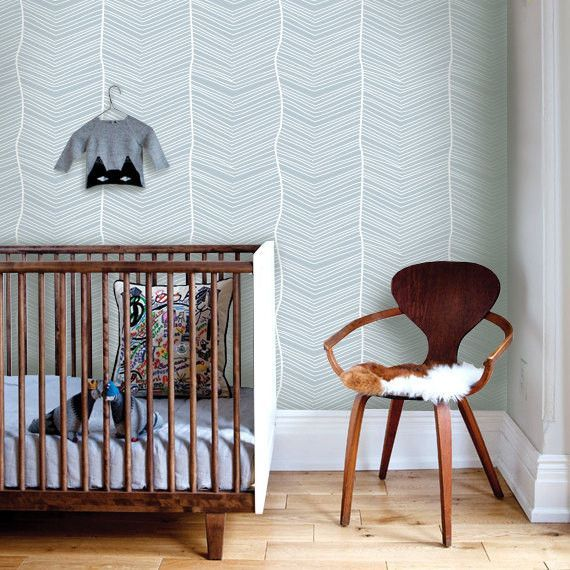 Striped Bule Removable Fabric WallPaper