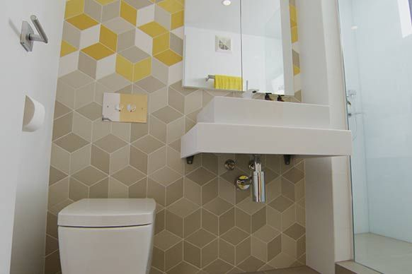 Yellow, White and Grey Tex Tiles.  Urban Edge Ceramics Tile.  Pictures from Trixie and Johnno's renovated apartment.  http://www.urbanedgeceramics.com.au/component/igallery/products/mutina?Itemid=108