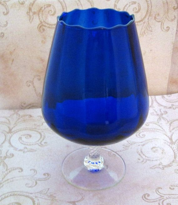 "Vintage Brandy Glass 1970s Large Blue Snifter // gorgeous 7"" vintage glass brandy snifter in fabulous indigo blue // hand blown piece with a lovely top edge scallop and oversize balloon design // twisted clear glass pedestal + round base .. unique and lovely // perfectly retro fabulous and a great addition to your barware collection + display .. beautiful on your table as functional decor TheBeadSource"